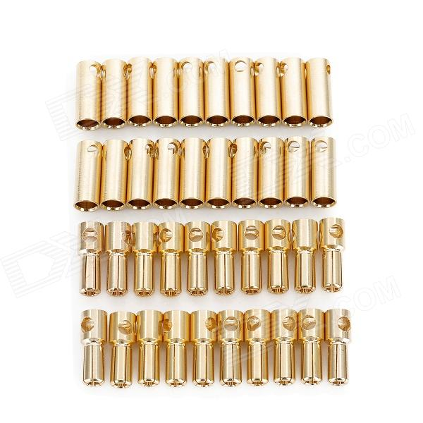 Gold Plated 5.5mm Bullet Banana Plug Connector for R/C Battery - Golden (20-Pairs) 5 5mm bullet banana connect plug with connectors for rc battery golden 20 pair