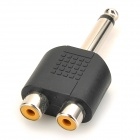 6.5MM Male to Dual Female Audio Split Adapter - Black + Silver