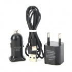3-in-1 USB Car Charger + EU Plug AC Adapter + 8-Pin Lightning Cable for iPhone 5 - Black