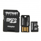 PATRIOT LX MICRO SD HC MicroSDHC Memory Card + USB Adapter + TF to SD Card Adapter - Black (64GB)