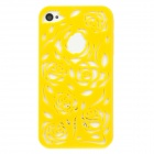 Stylish Hollowed-Out Rose Style Plastic Back Case for Iphone 4 / 4S - Yellow