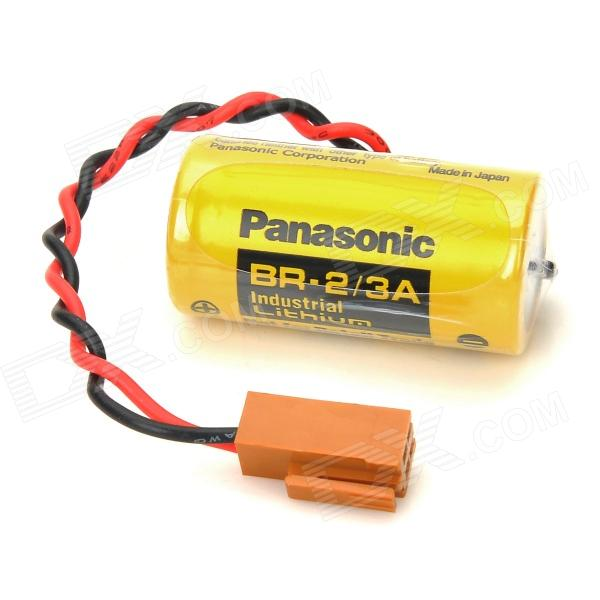 Panasonic BR-2/3A 1200mAh PLC Lithium Battery w/ Plug - Yellow + Black 2 3 4 5pcs icr 3 7v 16500 17500 rechargeable lithium ion battery li ion cell 1200mah for led flashlight torch and speaker