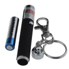 818 5mW Green Laser Pointer Flashlight w/ Keychain - Black + Silver (1 x AAA)