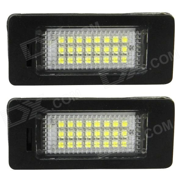 3W 168lm 24-SMD 3528 LED White Car License Plate Light for Audi TT07 Q5 08 / PASSAT R36 08 (2 PCS) cawanerl car canbus led package kit 2835 smd white interior dome map cargo license plate light for audi tt tts 8j 2007 2012