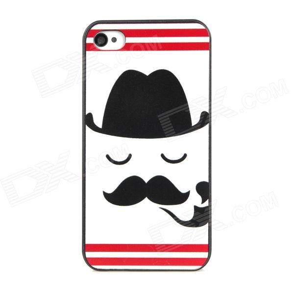 Relief Smoking Guy Pattern Protective PC Back Case for Iphone 4 / 4S - White + Black + Red аксессуар чехол samsung galaxy a3 2017 cojess tpu 0 3mm transparent