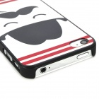 Relief Smoking Guy Pattern Protective PC Back Case for Iphone 4 / 4S - White + Black + Red