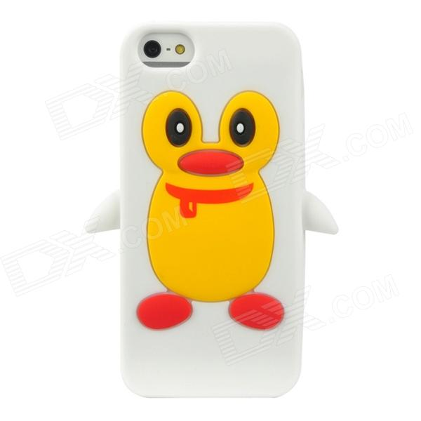 Cute Penguin Style Protective Silicone Back Case for Iphone 5 - White + Yellow + Red cute 3d cartoon penguin style protective silicone soft back case for iphone 4 4s green white