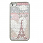 Protective Rhinestone Eiffel Tower Pattern PC Back Case for Iphone 4 / 4S - Silver + White + Grey