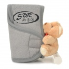 Universal Automobile Stick Shift Cover w/ Cute Bear Toy - Grey + Beige Yellow