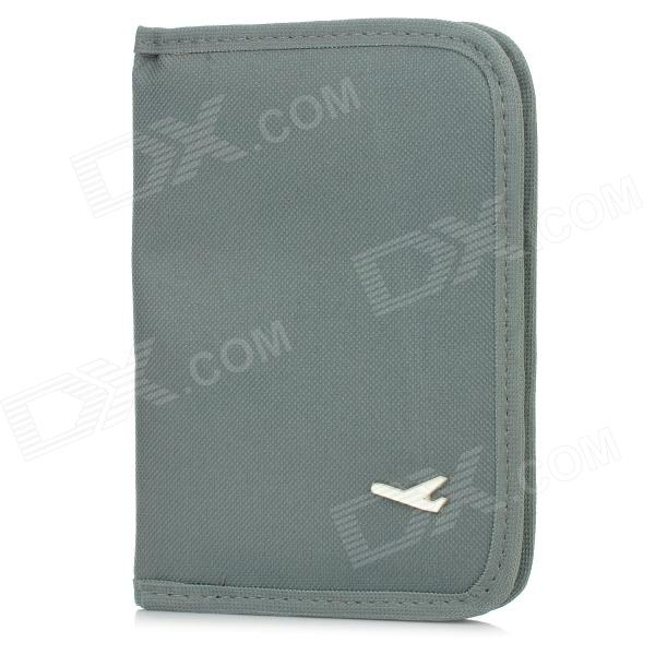 Multi-Function Outdoor Traveling Zipper Canvas Passport / ID Card / Ticker Bag - Grey