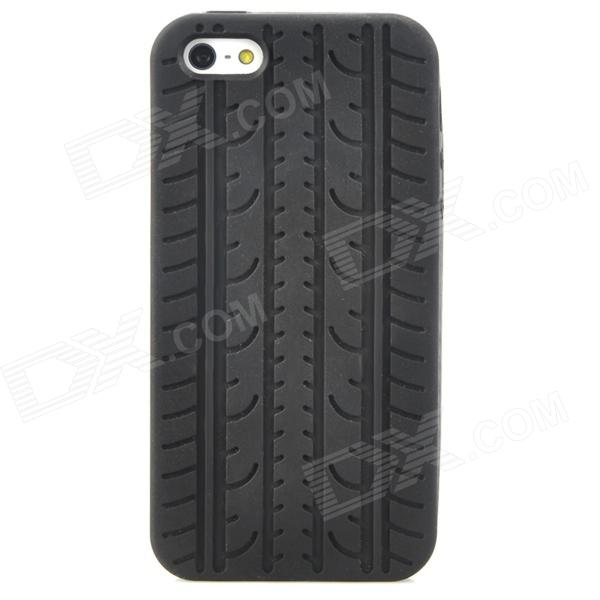 Creative Tire Pattern Protective Silicone Back Case for Iphone 5 - Black stylish bubble pattern protective silicone abs back case front frame case for iphone 4 4s