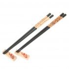 Traditional Oriental Art Wooden Chopsticks with Holder and Protective Case (2-Pair Set)