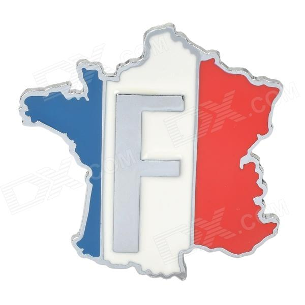 French Flag Shape Alloy Car Decoration Sticker - Silver + Blue + White + Red