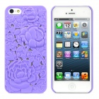 Hollowed-Out Peony Style Protective ABS Back Case for iPhone 5 - Purple