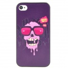 Relief Glasses Skull Pattern Protective PC Back Case for Iphone 4 / 4S - Dark Purple