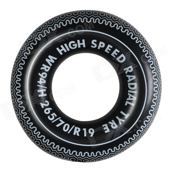 WIN.MAX WMB07569 Wheel Radial Type PVC Anti-Leak Swimming Ring - Black + White