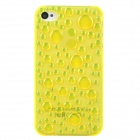3D Water Drop Plastic Back Case for iPhone 4 / 4S - Translucent Yellow