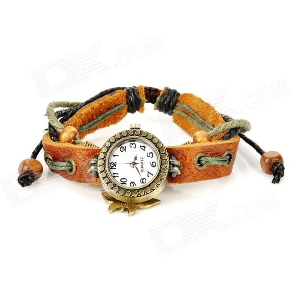 Fashion Cow Leather Band Round Shape Quartz Wrist Watch for Women - Coffee (1 x 377)