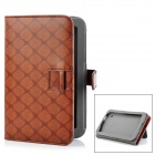 Enkay ENK-7006 Grid Pattern Protective PU Case w / Stand / Card Slot für Samsung P3100 + More - Brown