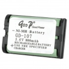 Goop GD-107 Cordless Phone Rechargeable 800mAh NiMH Battery - Black