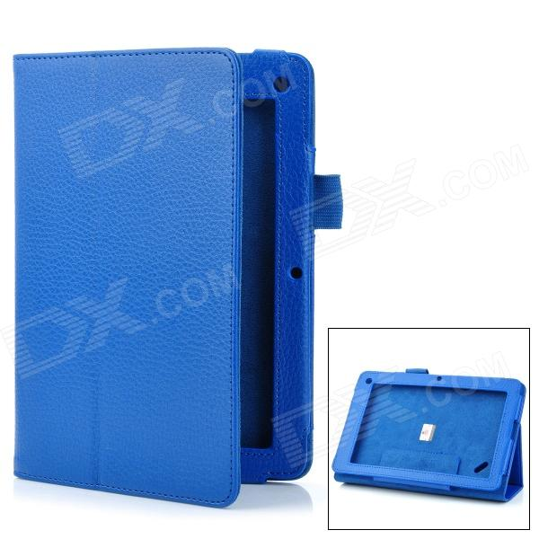 "Lychee Pattern Protective PU Flip-Open Case w/ Stand for 7.5"" Acer B1 - Deep Blue от DX.com INT"
