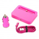 B-Y003 Charging Dock Station + 8 Pin Lightning Charging Cable + Car charger for iPhone 5 - Deep Pink