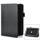 "Lychee Pattern Protective PU Flip-Open Case w/ Stand for 7.5"" Acer B1 - Black"