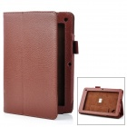 Lychee Pattern Protective PU Flip-open Case w/ Stand for Acer B1 - Brown