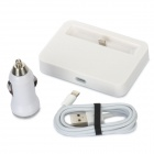 B-Y003 Charging Dock Station + 8 Pin Lightning Charging Cable + Car charger for iPhone 5 - White