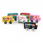 Cute School Bus Style Synthetic Resin Fridge Magnet Stickers - Multicolored (7 PCS)