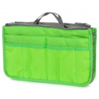 Multi-Functional Dual-Zipper Bag in Bag Thicken Storage Bag for Mobile Phone / Wallet - Green + Grey