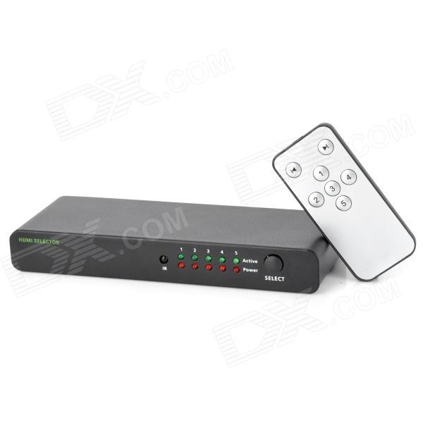 HY-9001 5-in-1 HDMI Video Audio Switcher - Black (5-In / 1-Out)