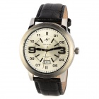 SPEATAK SP9036G-T Man Artificial Leather Band Analog Quartz Wrist Watch w/ Calendar - Black + White