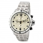 SPEATAK SP9038G-W Stainless Steel Men's Quartz Analog Wrist Watch - White + Silver