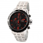 SPEATAK SP9038G-BR Stainless Steel Men's Quartz Analog Wrist Watch - Black + Silver + Red