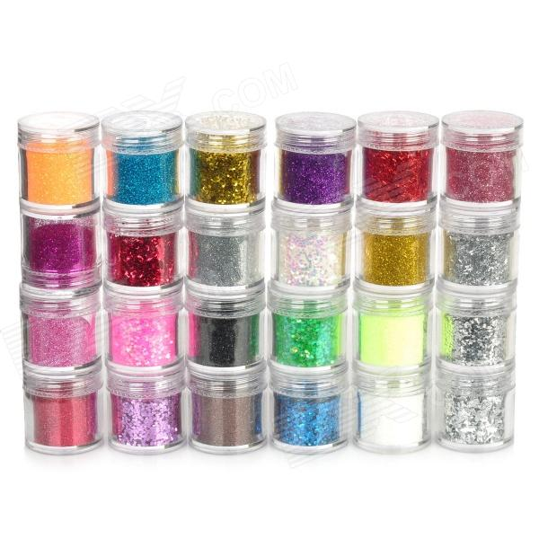 DIY Shinning do prego artificial decorativa Lantejoula Pó Set - multicolorida (24 PCS)