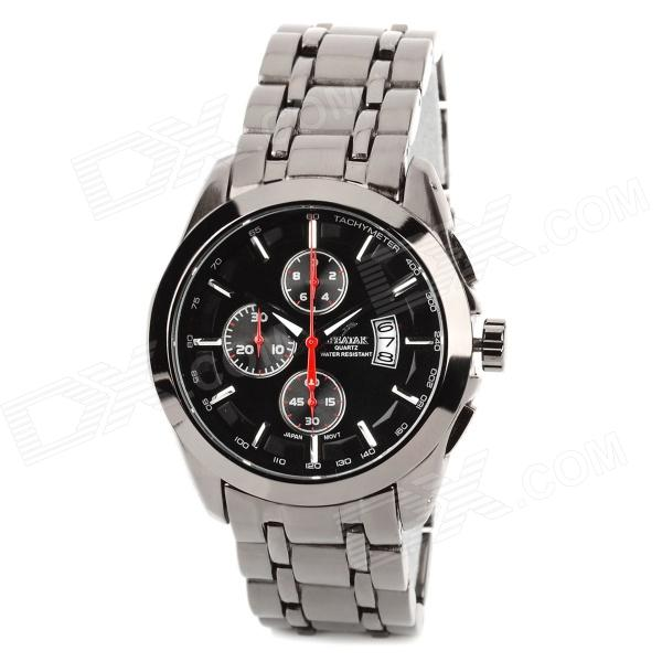SPEATAK SP9031G Stainless Steel Band Quartz Analog Men's Wrist Watch w/ Calendar - Gun Color