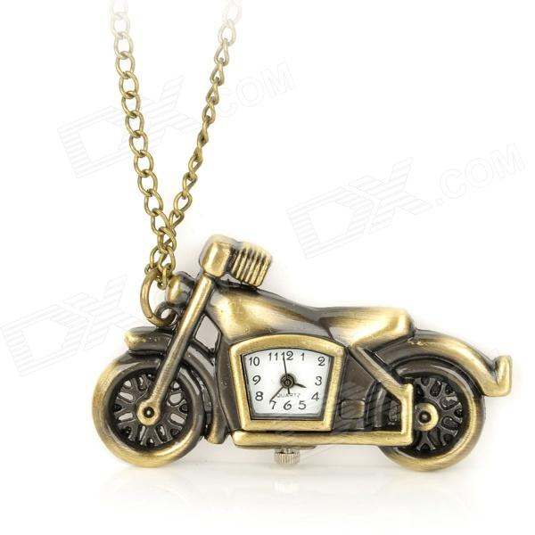 HB-211 Antiquing Motorcycle Style Pocket Watch w/ Necklace Chain - Bronze (1 x LR626) cute owl pendant chain necklace dual dial quartz pocket watch bronze 80cm chain 1 x lr626