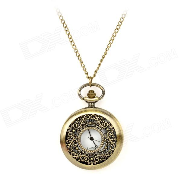 TS-132 Hollow Out Flower Style Quartz Pocket Watch w/ Necklace Chain - Bronze (1 x LR626) cute owl pendant chain necklace dual dial quartz pocket watch bronze 80cm chain 1 x lr626