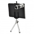 4-in-1 12x Zoom + Fisheye + Wide Angle + Macro Lens w/ Tripod for iPad Mini - Silver + Black