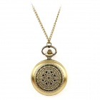TS-120 Vintage Flower Style Pocket Watch w/ Necklace Chain - Bronze