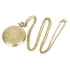 TS-120 Vintage Flor Estilo Pocket Watch w / colar Chain - Bronze