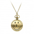 TS-120 Vintage Smile Face Style Quartz Pocket Watch w/ Necklace Chain - Bronze (1 x LR626)