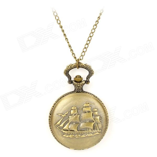 TS-108 Vintage Sailboat Style Pocket Watch w/ Necklace Chain - Bronze (1 x LR626) cute owl pendant chain necklace dual dial quartz pocket watch bronze 80cm chain 1 x lr626