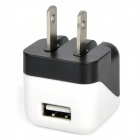 2-Flat-Pin Plug Power Adapter w/ USB Port - White + Black (100~240V)