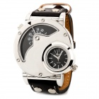 9591 Mineral Dial Stainless Steel Casing PU Band Men's Quartz Analog Wrist Watch - Black + Silver
