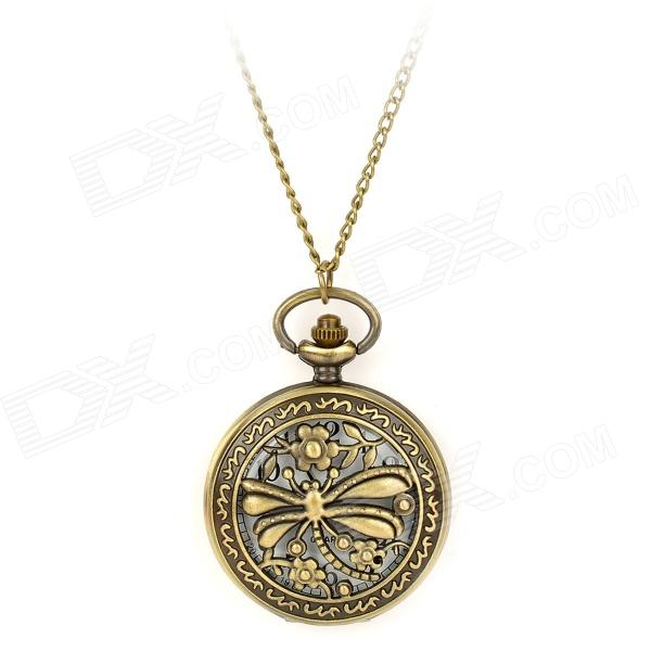 TS-121 Vintage Dragonfly Style Pocket Watch w/ Necklace Chain - Bronze (1 x LR626) cute owl pendant chain necklace dual dial quartz pocket watch bronze 80cm chain 1 x lr626
