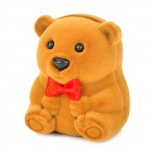 Cute Bear Style Ring Storage Case Box - Brown
