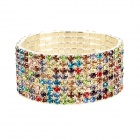 ZX-0318 Row Crystal Rhinestone Bracelet - Multicolored
