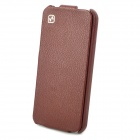 HOCO Stylish Genuine Cow Leather Top-Flip Open Case w/ Bottle Opener for Iphone 5 - Brown